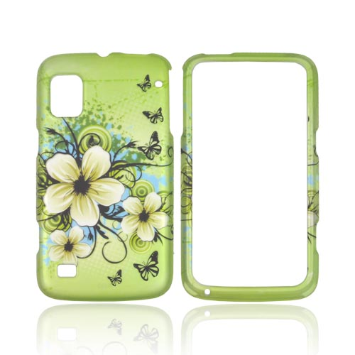 ZTE Warp Rubberized Hard Case - Hawaiian Flowers on Green