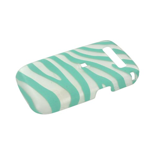 Blackberry Curve 8900 Rubberized Hard Case - Turquoise Zebra on White