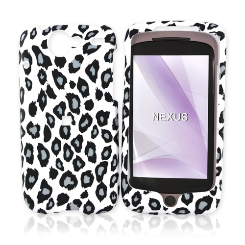 Google Nexus One Rubberized Hard Case - Grey/Black Leopard Print on White