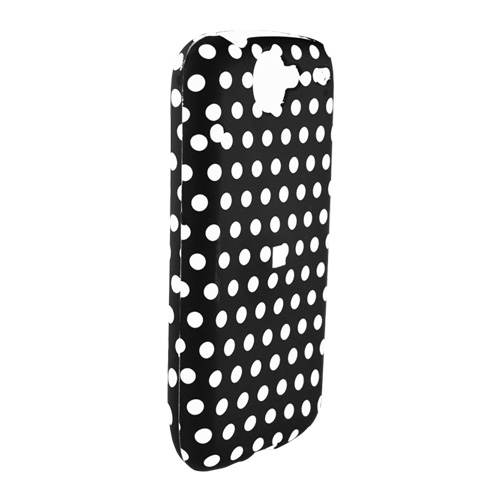 Google Nexus One Rubberized Hard Case - White Polka dots on Black