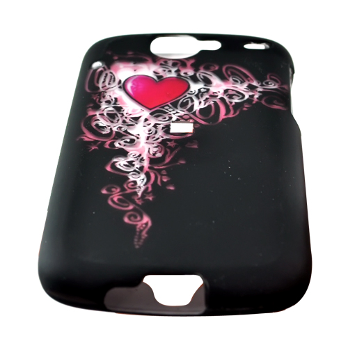 Google Nexus One Rubberized Hard Case - Pink Heart Design on Black