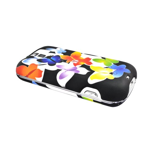 T-Mobile MyTouch 3G SLIDE Rubberized Hard Case Butterflies - Rainbow/White/Black