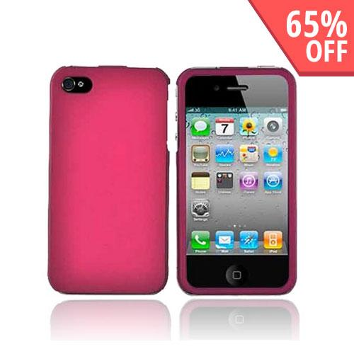 Apple Verizon/ AT&T iPhone 4, iPhone 4S Rubberized Hard Case - Rose Pink