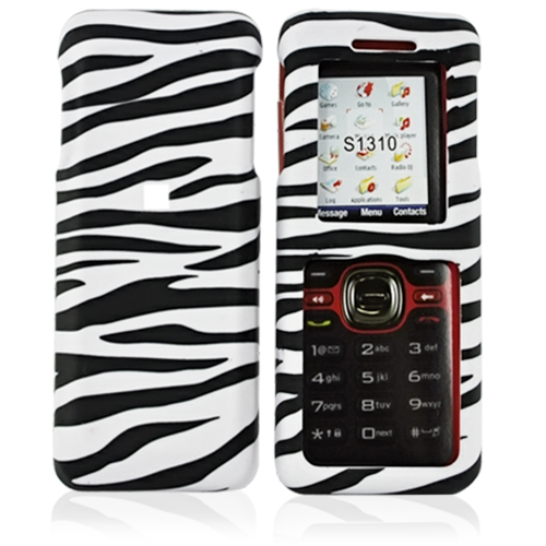 Kyocera Domino S1310 Rubberized Hard Case - White/Black Zebra