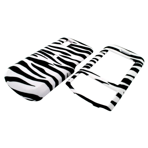 LG Shine II GD710 Rubberized Hard Case - White/Black Zebra