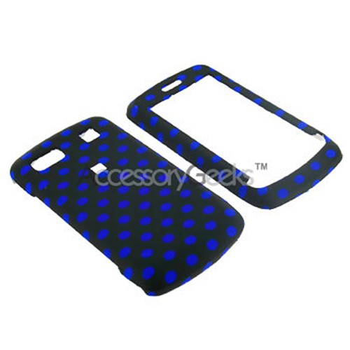 LG Xenon GR500 Rubberized Hard Case - Blue Polka Dot on Black
