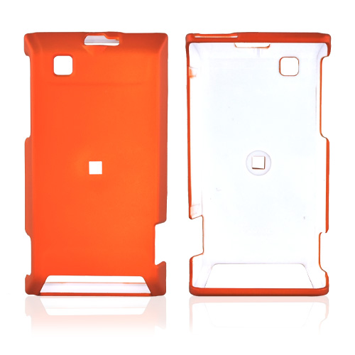 Motorola Devour A555 Rubberized Hard Back Cover Case - Orange