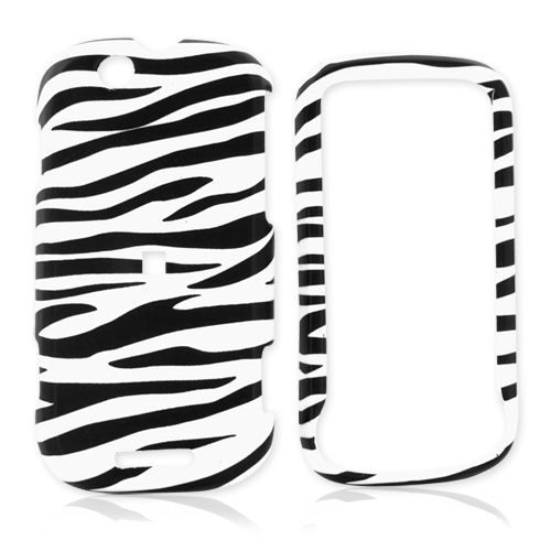 Motorola CLIQ Rubberized Hard Case - White/Black Zebra