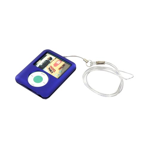 Apple iPod Nano Video Blue Rubberized Hard Case Cover with Belt Clip