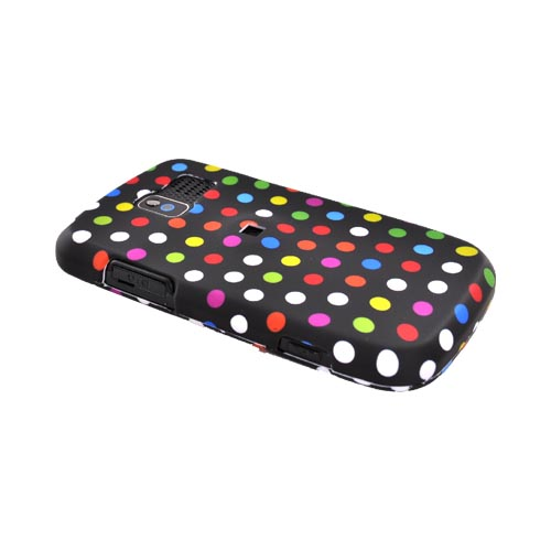 Pantech Link P7040 Rubberized Hard Case - Colorful Polka Dots on Black