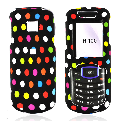 Samsung Stunt R100 Rubberized Hard Case - Colorful Polka Dots on Black