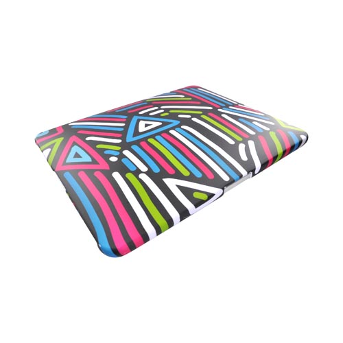 Apple iPad (1st Gen) 1st Rubberized Back Cover - Colorful Lines on Black