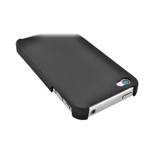 Apple iPhone 4/4S Rubberized Back Cover - Black - XXIP4