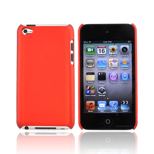 Apple iPod Touch 4 Rubberized Hard Back Cover Case - Orange