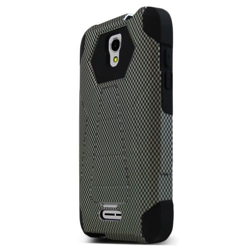 Alcatel OneTouch Elevate Case, [Carbon Fiber Design] Rubberized Matte Plastic on Silicone Dual Layer Hybrid Case