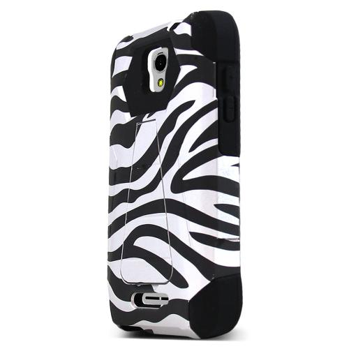 Alcatel OneTouch Elevate Case, [White Zebra] Rubberized Matte Plastic on Silicone Dual Layer Hybrid Case
