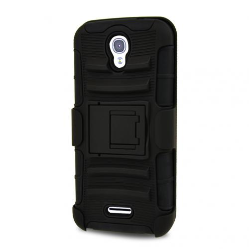 Alcatel OneTouch POP Astro Holster Case, [STANDARD BLACK] Rubberized Matte Plastic on Silicone Dual Layer Hybrid Case