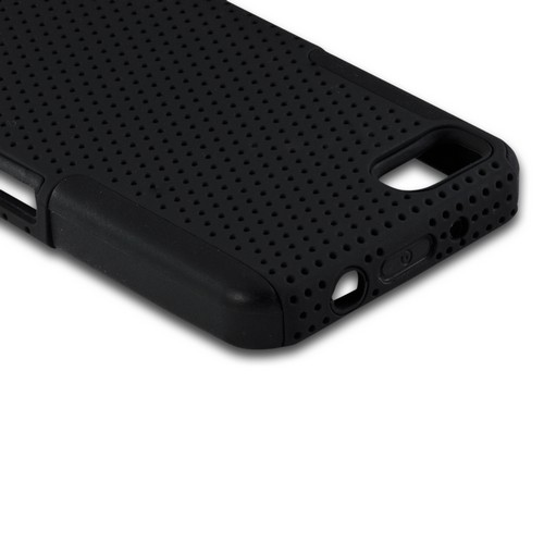 Black Mesh on Black Silicone Hybrid Case for BlackBerry Z10