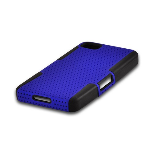 Blue Mesh on Black Silicone Hybrid Case for BlackBerry Z10