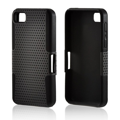 Gray Mesh on Black Silicone Hybrid Case for BlackBerry Z10