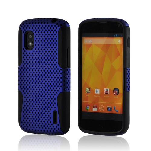 Blue Mesh on Black Silicone Hybrid Case for Google Nexus 4