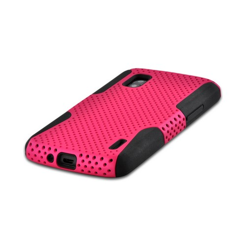 Hot Pink Mesh on Black Silicone Hybrid Case for Google Nexus 4