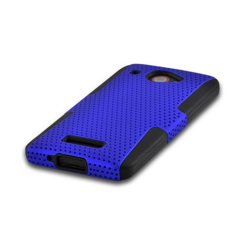Blue Mesh on Black Rubberized Hard Case Over Silicone for HTC Droid DNA