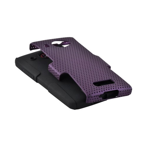 Purple Mesh on Black Rubberized Hard Case Over Silicone for HTC Droid DNA