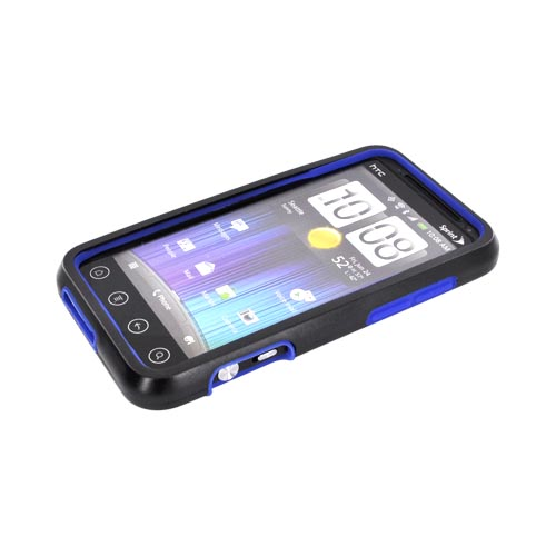 HTC EVO 3D Hard Case w/ Silicone Case - Blue/ Black