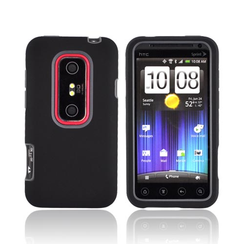 HTC EVO 3D Hard Case w/ Silicone Case - Gray/ Black