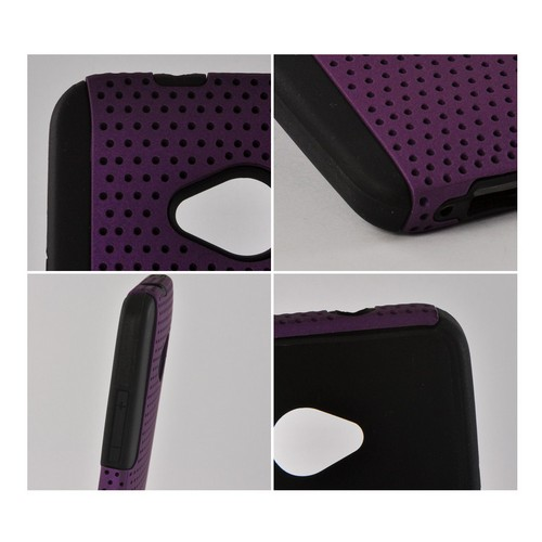 Purple Mesh on Black Silicone Hybrid Case for HTC One