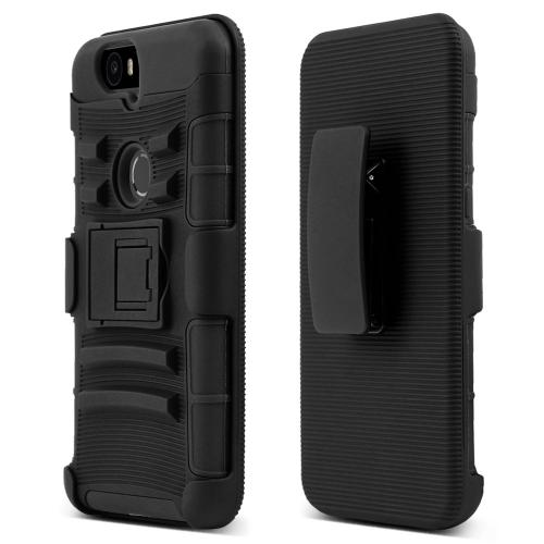 Huawei Google Nexus 6P Holster Case, [Black] Rubberized Matte Plastic on Silicone Dual Layer Hybrid Case