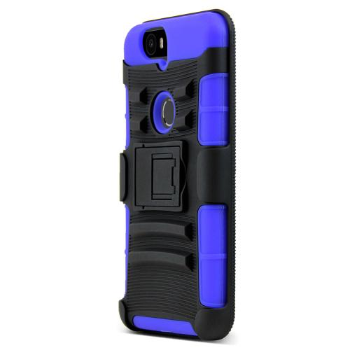 Huawei Google Nexus 6P Case, [Blue]  Rubberized Matte Plastic on Silicone Dual Layer Hybrid Case