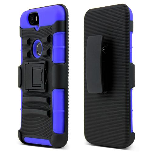 Huawei Google Nexus 6P Holster Case, [Blue] Rubberized Matte Plastic on Silicone Dual Layer Hybrid Case