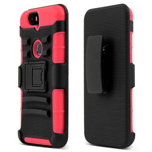 Huawei Google Nexus 6P Holster Case, [Red] Rubberized Matte Plastic on Silicone Dual Layer Hybrid Case