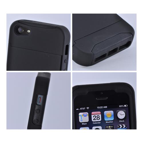 Black Rubberized Hard Case Over Silicone w/ ID & Card Compartment for Apple iPhone 5/5S