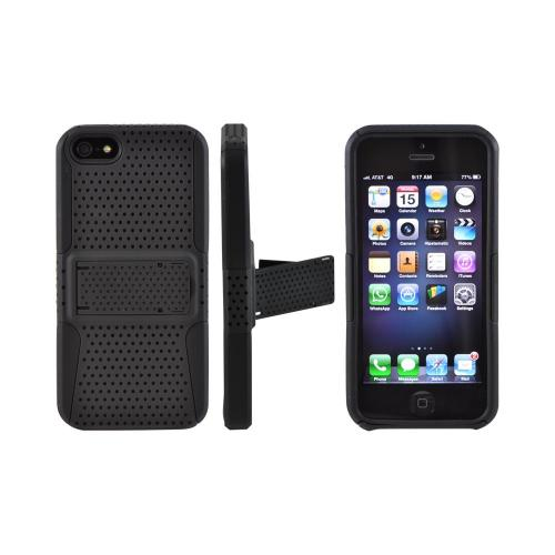 Apple iPhone 5/5S Rubberized Hard Case Over Silicone w/ Stand - Black Mesh on Black