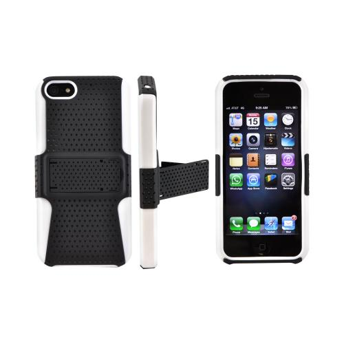 Apple iPhone 5/5S Rubberized Hard Case Over Silicone w/ Stand - Black Mesh on White