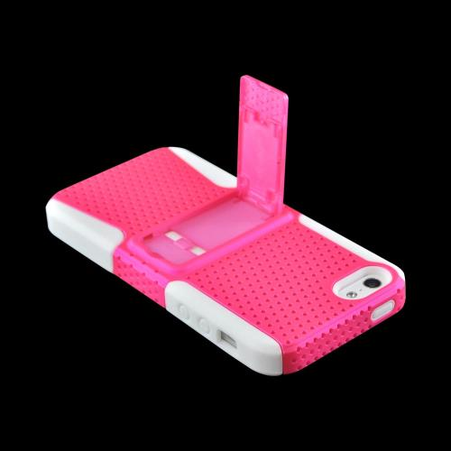 Apple iPhone SE / 5 / 5S  Case,  [Hot Pink Mesh on White]  Rubberized Hard Case Over Silicone w/ Stand