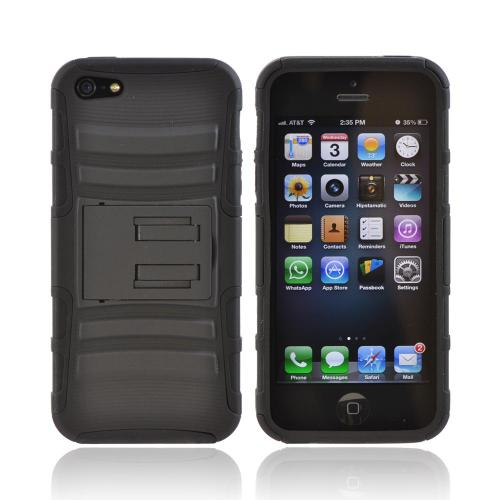 Apple iPhone 5/5S Rubberized Hard Cover Over Silicone Case w/ Built-In Kickstand - Black