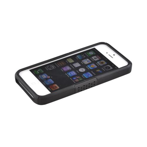 Apple iPhone 5/5S Rubberized Hard Case Over Silicone w/ Built-In Kickstand - Black Mesh on Black