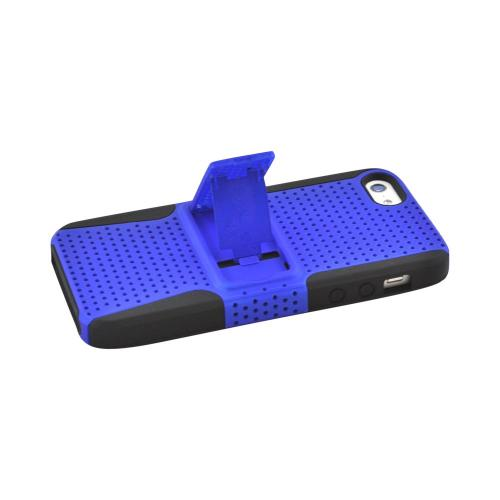 Apple iPhone SE / 5 / 5S  Case,  [Blue Mesh on Black]  Rubberized Hard Case Over Silicone Case w/ Built-In Kickstand