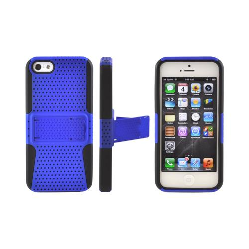 Apple iPhone 5/5S Rubberized Hard Case Over Silicone w/ Built-In Kickstand - Blue Mesh on Black