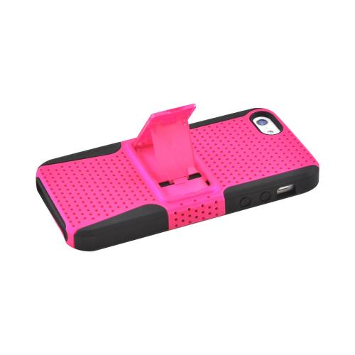 Apple iPhone 5/5S Rubberized Hard Case Over Silicone w/ Built-In Kickstand - Hot Pink Mesh on Black