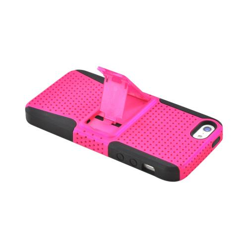 Apple iPhone SE / 5 / 5S  Case,  [Hot Pink Mesh on Black]  Rubberized Hard Case Over Silicone Case w/ Built-In Kickstand