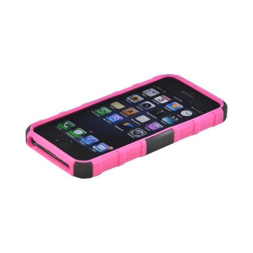 Apple iPhone 5/5S Rubberized Hard Cover Over Silicone Case w/ Built-In Kickstand - Pink/ Black