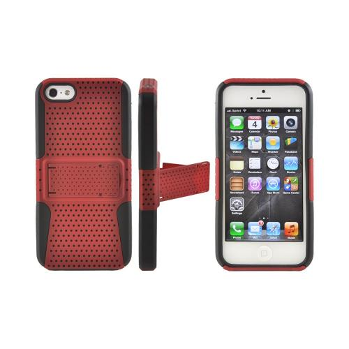 Apple iPhone 5/5S Rubberized Hard Case Over Silicone w/ Built-In Kickstand - Red Mesh on Black