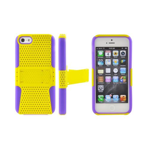 Apple iPhone 5/5S Rubberized Hard Case Over Silicone w/ Built-In Kickstand - Yellow Mesh on Purple