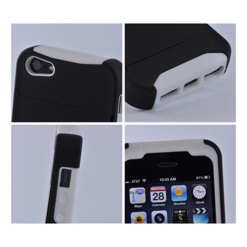White/ Black Rubberized Hard Case Over Silicone w/ ID & Card Compartment for Apple iPhone 5/5S
