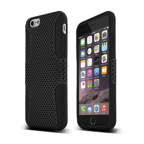 Black Dual Layer Case | Rubberized Mesh Hard Cover on Silicone Made for Apple iPhone 6 (4.7 inch)